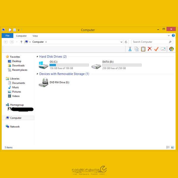 مخفی کردن درایوها در لپ تاپ